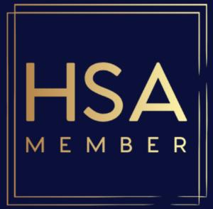 logo HSA, acronimo di  Home Staging Association, l'Associazione attiva nel Regno Unito e in Irlanda